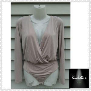 Lulu's Taupe Long Sleeve Bodysuit